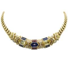 Bvlgari, 18 Karat Gold, Ruby, Sapphire and Diamond Link Necklace