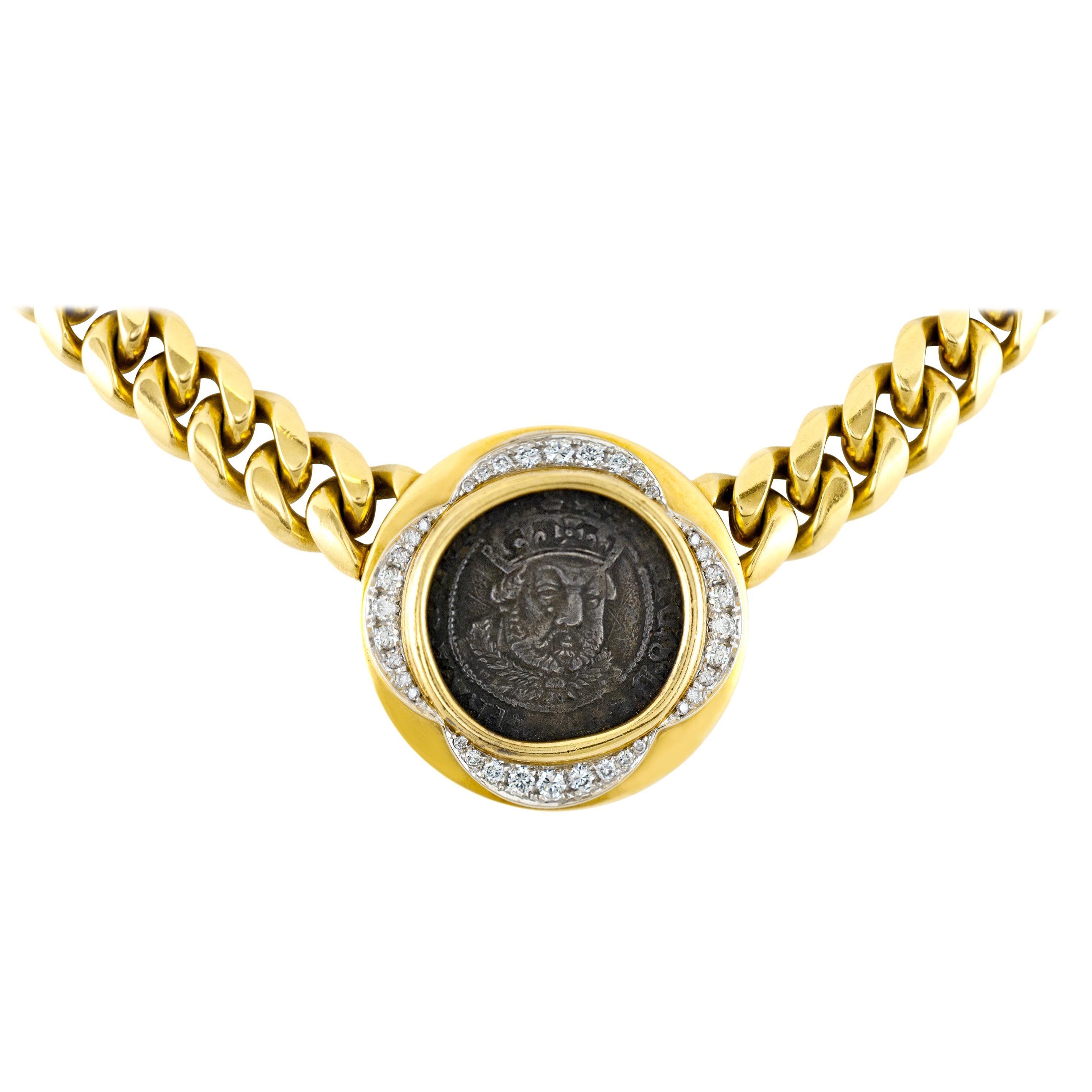 Bvlgari 18 Karat Henry VII Coin with Diamonds Necklace