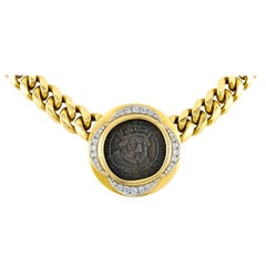 Bvlgari 18 Karat Henry VII Coin with Diamonds Necklace