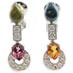 Bvlgari 18 Karat Multi-Gem Set Allegra Earrings
