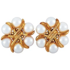 Bvlgari 18 Karat Rose Gold Pearl Clip-On Earrings