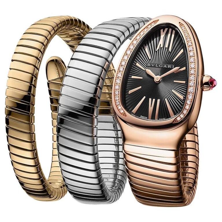 Bvlgari 18 Karat Tri-Color Gold Serpenti Tubogas Diamond Bracelet Watch For Sale