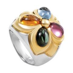 Bvlgari 18 Karat White and Yellow Gold Multi-Gemstone Band Ring