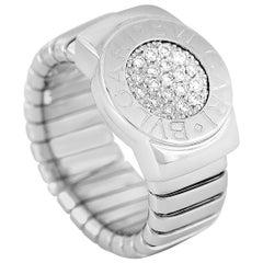 Bvlgari 18 Karat White Gold 0.20 Carat Diamond Tubogas Ring