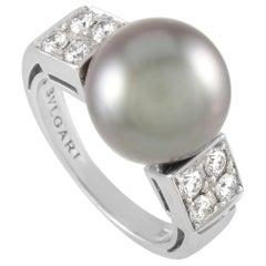 Bvlgari 18 Karat White Gold 0.45 Carat Diamond and Tahitian Pearl Ring