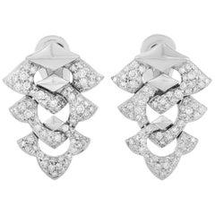 Bvlgari 18 Karat White Gold 2.00 Carat Diamond Earrings