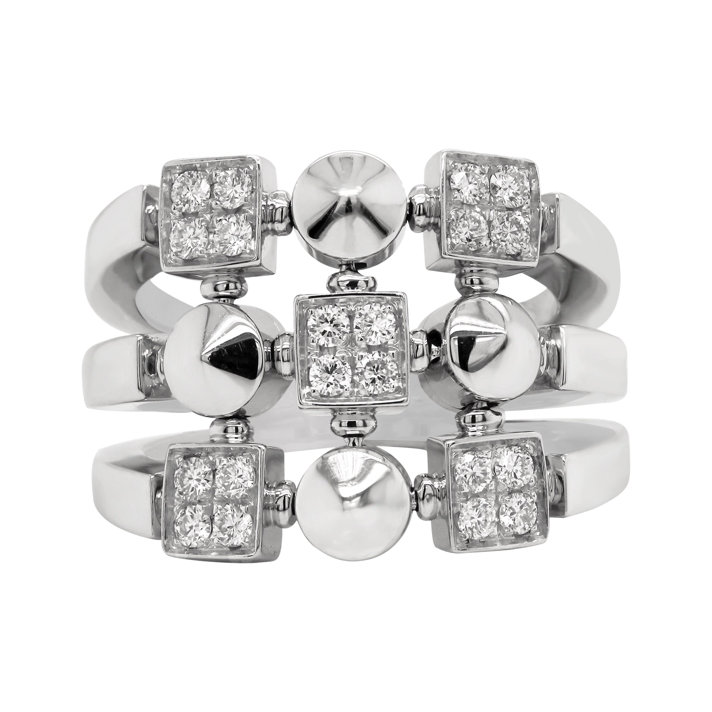 Bvlgari 18 Karat White Gold and Diamond Lucéa Collection Ring