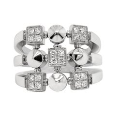 Bvlgari 18 Karat White Gold and Diamond Lucéa Collection Ring