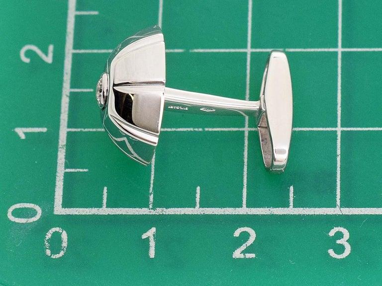 Bvlgari 18 Karat White Gold Diamond Cufflinks For Sale 2