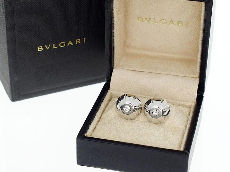 Bvlgari 18 Karat White Gold Diamond Cufflinks For Sale 3