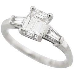 Bvlgari 950 Platinum White Gold Emerald Cut 1.07 Carat Diamond Solitaire Ring
