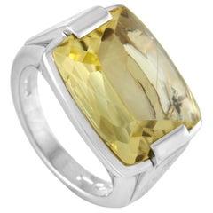Bvlgari 18 Karat White Gold Lemon Citrine Ring