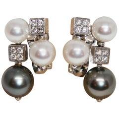 Bvlgari 18 Karat White Gold Lucea Cultured Pearl Diamond Earrings