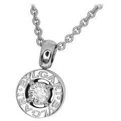 Bvlgari 18 Karat White Gold One Point Diamond Pendant Necklace