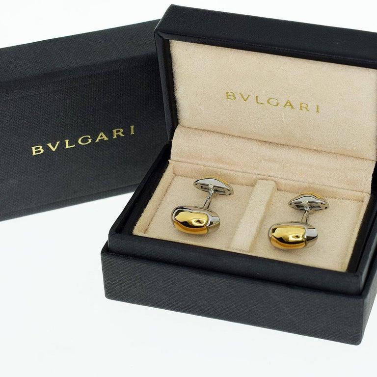 Bvlgari 18 Karat White Gold Yellow Gold Cufflinks For Sale 3