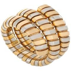 Bvlgari 18 Karat Yellow and White Gold Spiral Tubogas Ring