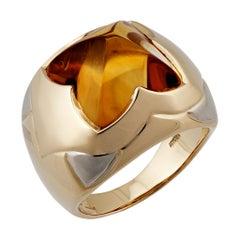 Bvlgari 18 Karat Yellow and White Pyramid Citrine Gold Ring
