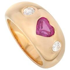 Bvlgari 18 Karat Yellow Gold 0.25 Carat Diamond and Ruby Heart Ring