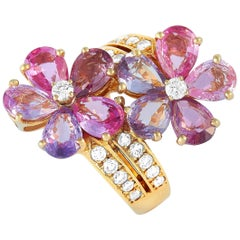 Bvlgari 18 Karat Yellow Gold 0.80 Carat Diamond and Sapphire Flower Ring
