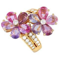 Bvlgari 18 Karat Yellow Gold 0.80 Carat Diamond and Sapphire Flower Ring