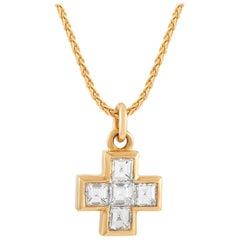 Bvlgari 18 Karat Yellow Gold 1.00 Carat Diamond Cross Necklace