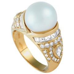 Bvlgari 18 Karat Yellow Gold, 1.25 Carat Diamond and Pearl Ring
