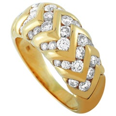 Bvlgari 18 Karat Yellow Gold 1.50 Carat Diamond Spiga Ring