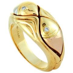Bvlgari 18 Karat Yellow Gold and Diamond Fish Band Ring