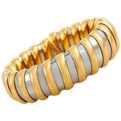 Bvlgari 18 Karat Yellow Gold and Stainless Steel Bangle Bracelet