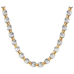 Bvlgari 18 Karat Yellow Gold and Stainless Steel Chain Necklace