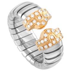 Bvlgari 18 Karat Yellow Gold and Stainless Steel Diamond Tubogas Ring