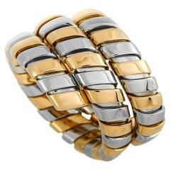 Bvlgari 18 Karat Yellow Gold and Stainless Steel Tubogas Ring