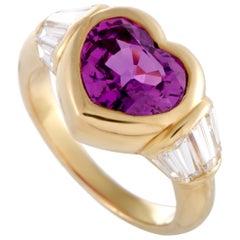 Bvlgari 18 Karat Yellow Gold Baguette Diamonds and Sapphire Heart Ring