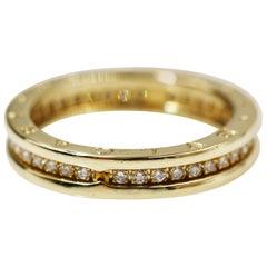 Bvlgari 18 Karat Yellow Gold B.Zero One Band Ring with Pave Diamonds