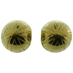 Bvlgari 18 Karat Yellow Gold Clip-On Ear Clip Earrings Vintage circa 1980s Rare