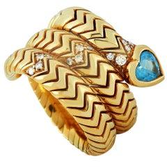 Bvlgari 18 Karat Yellow Gold Diamond and Aquamarine Spiga Ring