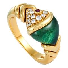Bvlgari 18 Karat Yellow Gold Diamond and Peridot Ring