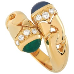 Bvlgari 18 Karat Yellow Gold Diamond, Emerald and Sapphire Bypass Ring