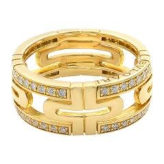 Bvlgari 18 Karat Yellow Gold Diamond Parentesi Ring