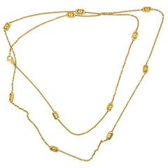 Bvlgari 18 Karat Yellow Gold Eleven Section Long Chain Necklace