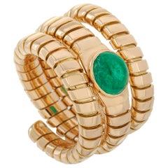 Bvlgari 18 Karat Yellow Gold Emerald Tubogas Ring