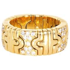 Bvlgari 18 Karat Yellow Gold Flexible Parentesi Diamond Ring