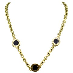 Bvlgari, 18 Karat Yellow Gold Ladies Necklace with Onyx, Italy, circa 1990s