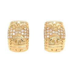 Bvlgari 18 Karat Yellow Gold Parentesi Diamond Earrings