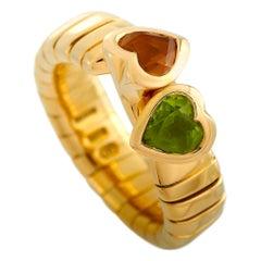 Bvlgari 18 Karat Yellow Gold Peridot and Citrine Hearts Ring
