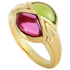 Bvlgari 18 Karat Yellow Gold Peridot and Tourmaline Ring