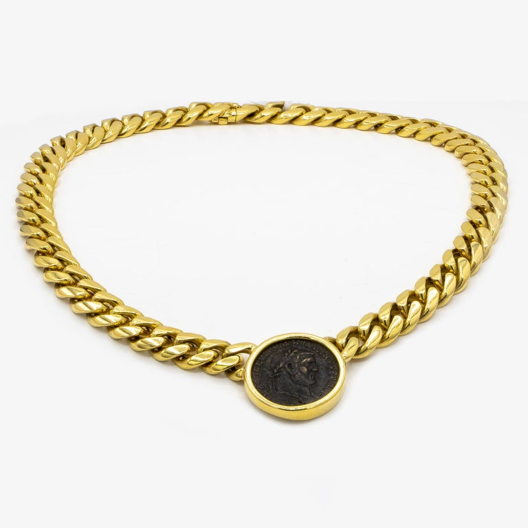 Bvlgari 18 Karat Yellow Gold Roman Empire Coin Necklace In Excellent Condition For Sale In Carlsbad, CA