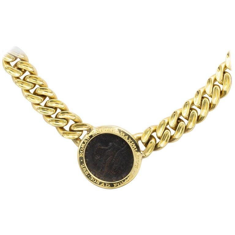 Women's or Men's Bvlgari 18 Karat Yellow Gold Roman Empire Coin Necklace For Sale