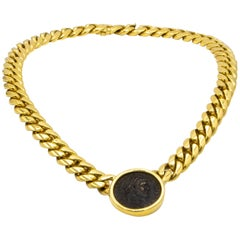 Bvlgari 18 Karat Yellow Gold Roman Empire Coin Necklace
