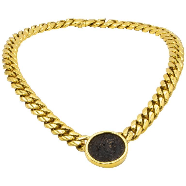 Bvlgari 18 Karat Yellow Gold Roman Empire Coin Necklace For Sale